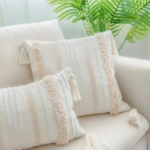 New Woven Tufted Boho Neutral Pillow Cover